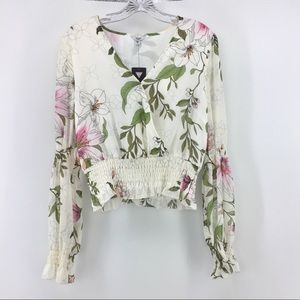 Guess Cropped Peasant Top M Floral Blouse Bell